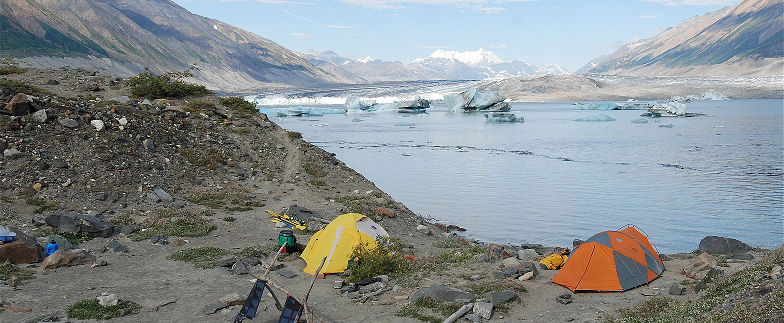 glacier view camp  serenaded by calving bergs